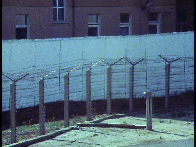 Berlin, Germany, The Berlin Wall in 1988 (last year it stood), close up, zoom out wide, DMZ
