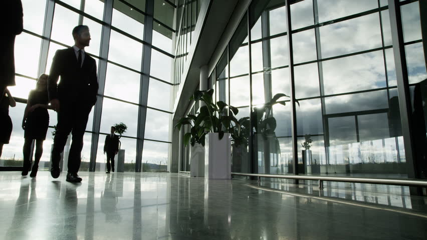 Time lapse of a large group business people moving around a large, open plan, glass fronted office building. The interior panels of glass are reflecting the clouds outside as they move across the sky. | Shutterstock HD Video #3870671