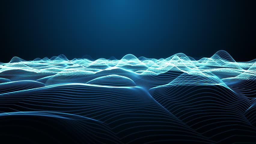Virtual Wireframe Landscape Flight Simulation Loop | Shutterstock HD Video #3873410