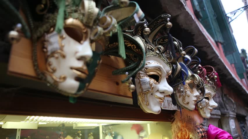 Venetian Masks being sold in a store in Venice, Italy
