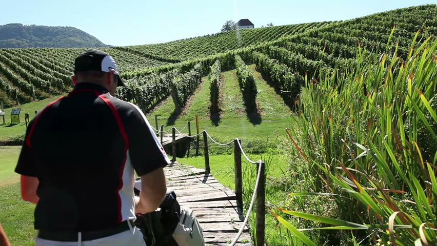 Crane shot of couple that goes golfing through the beautiful landscape of the golf court in the middle of the vineyard