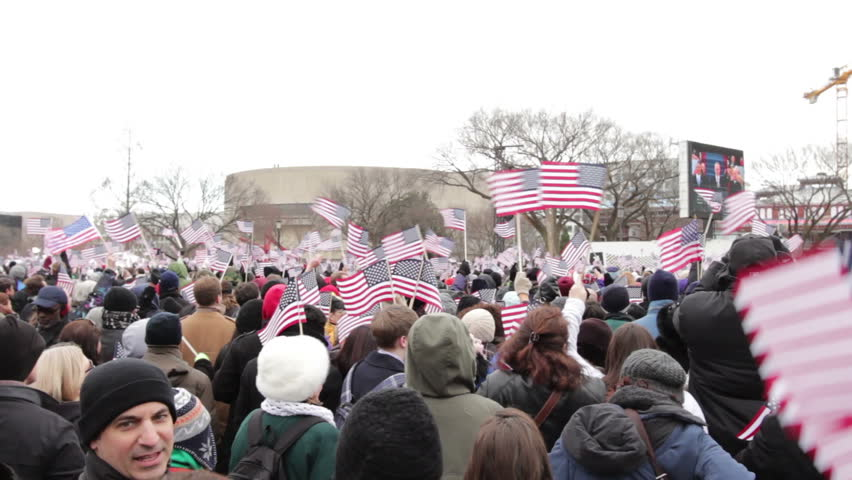 WASHINGTON, D.C. - JANUARY 21: American flags waving at Presidential Inauguration January 21, 2013 in Washington, D.C.