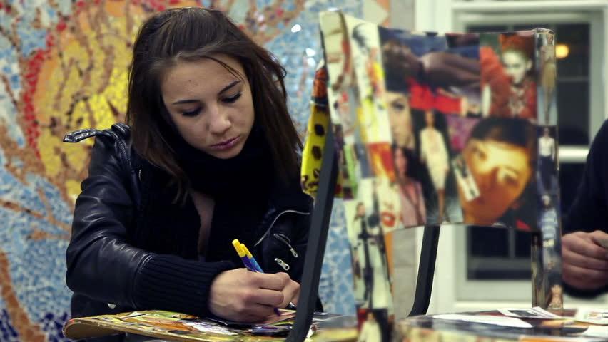 Students creating in art class | Shutterstock HD Video #3890351