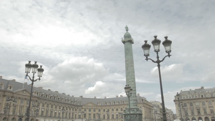 Paris - CIRCA 2012 - Low angle shot of the famous Vendôme square, accommodating luxury Ritz hotel and jewelry stores