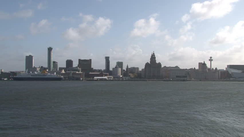 The iconic Liverpool skyline seen from across the River Mersey.