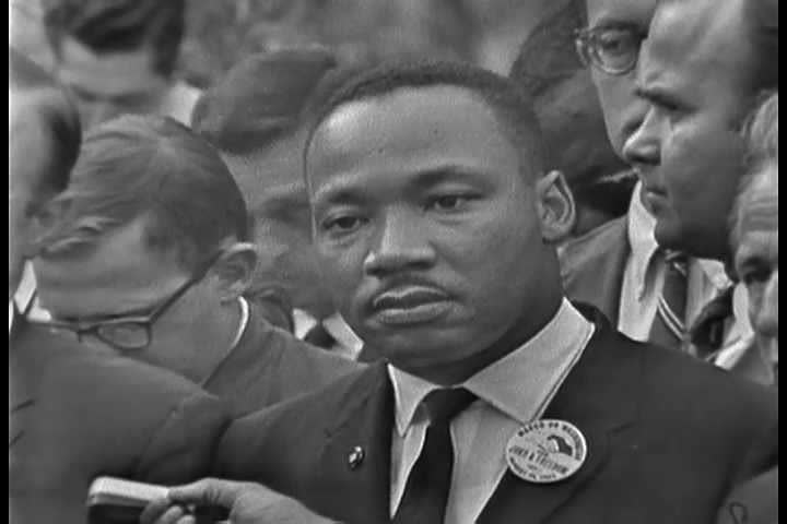 1960s - The 1963 March on Washington civil rights rally. Martin Luther King speaks.