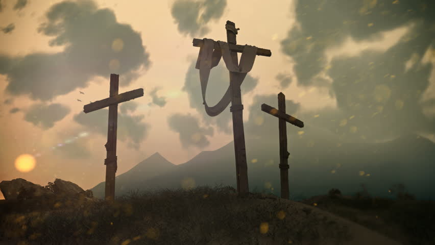 Hi res, photor-ealistic render of Jesus' cross on cavalry hill after the crucifixion. Three birds fly in the background