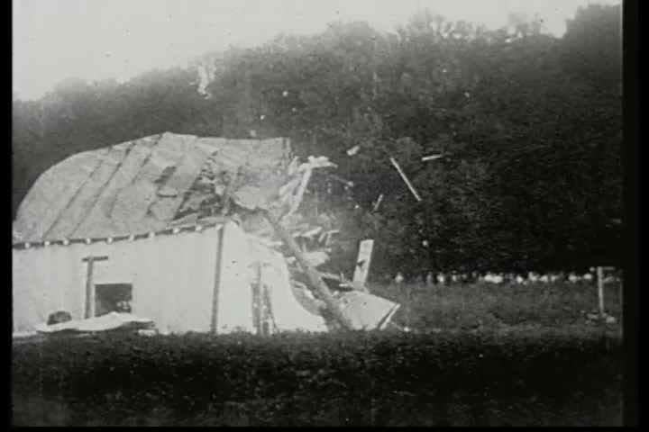 1920s - A plane crashes into a barn in this 1928 stunt film.