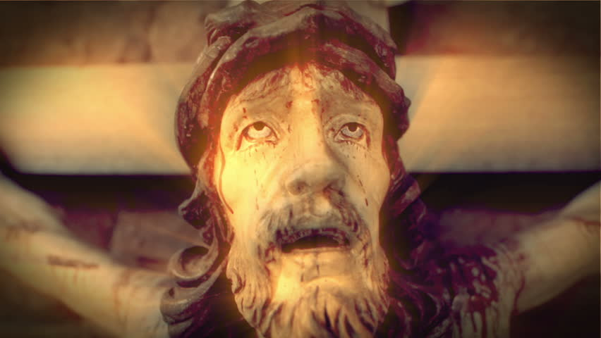 A scary jesus on the cross - Horror. intro,