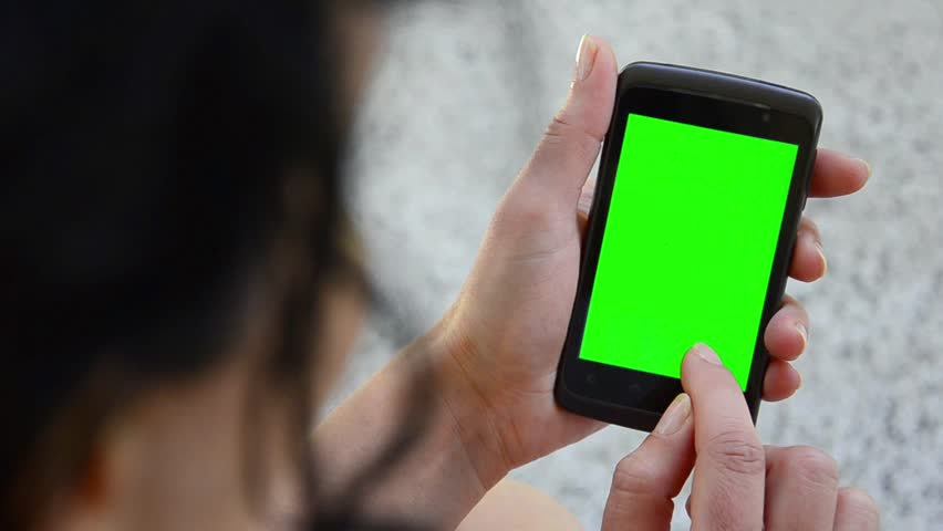 Business woman using a Smart phone Touchscreen CHROMA KEY- Close-up , Fingers