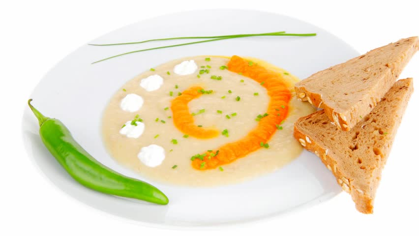 homemade cuisine : 1080p salmon vegetable soup served with bread and chives 1920x1080 intro motion slow hidef hd