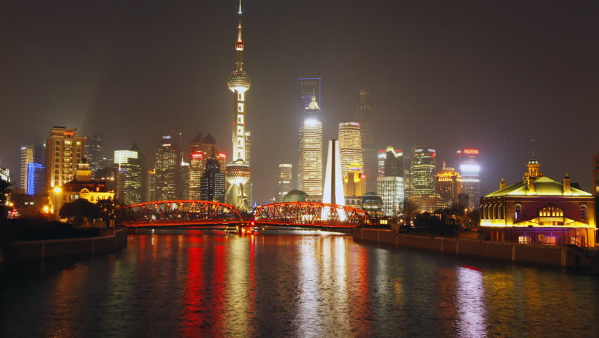 Time lapse of Shanghai Garden Bridge skyline at night - view from suzhou river,