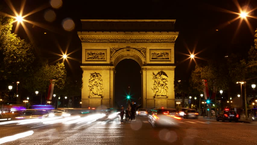 Arch of Triumph at night, Paris, France, Traffic time lapse, one of the monuments of Paris, with Eiffel tower, Louvre, Montmartre, Montparnasse, Moulin Rouge, Versailles, Pompidou Center, Notre Dame. | Shutterstock HD Video #3954062