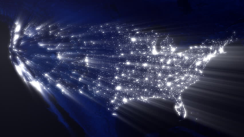 USA At Night With Ray Of Lights Loop Stock Footage Video - Us map night