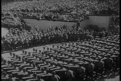 1960s - Nazi parade is watched over by Adolph Hitler.