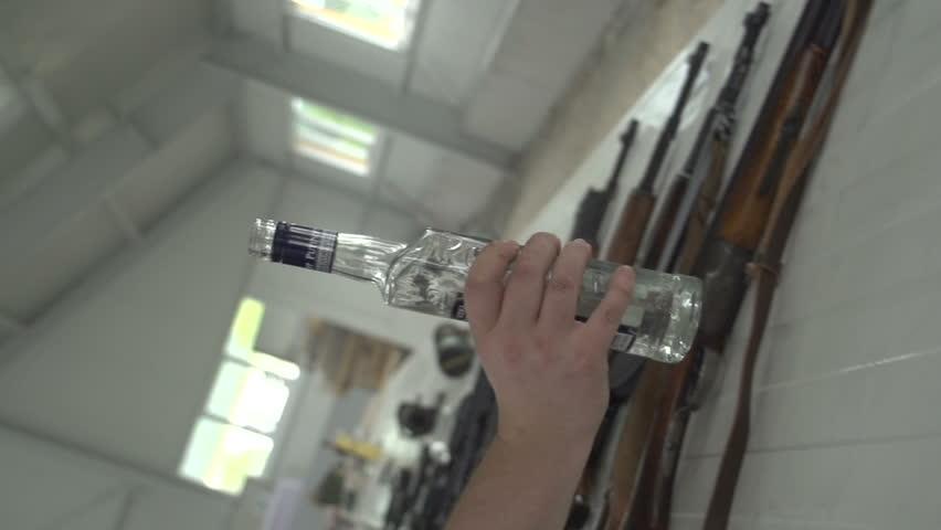 Russian dealer drinking wodka