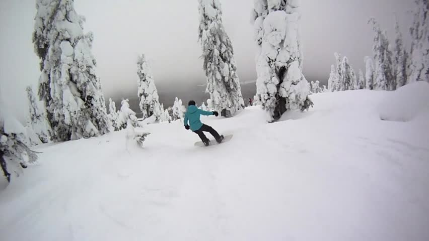 Following a Snowboarder in Forest pov