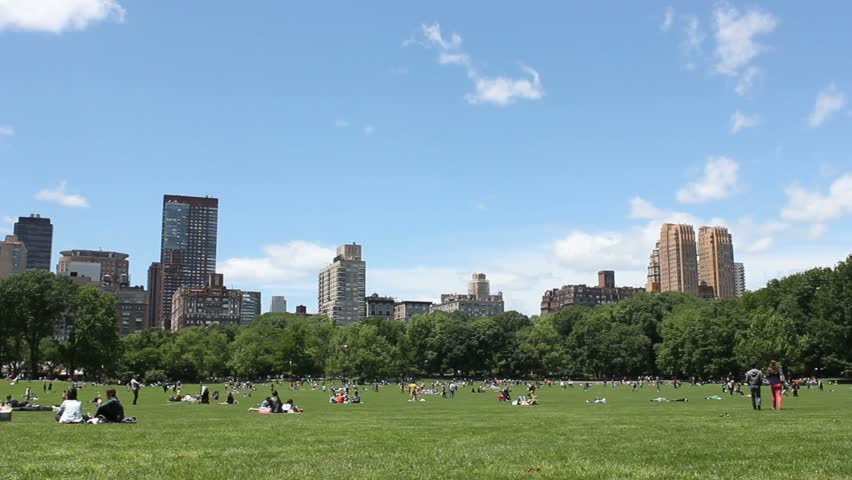 People relaxing in Central Park meadow