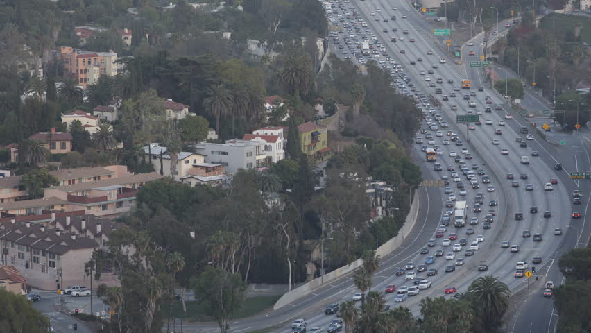 Los Angeles Skyline, Aerial View, Hollywood by day, California, USA, Highway
