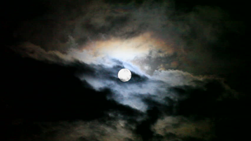 Full moon behind moving cloud at night (best for web use)