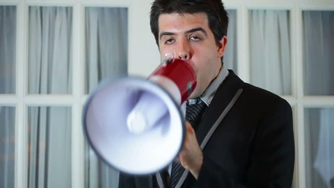 business man with a megaphone