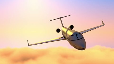 Corporate jet, business travel on sunset