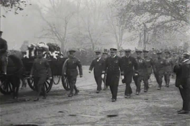 1910s - A solemn funeral procession for the fallen in World War One.