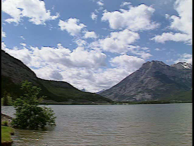 pan of Lac des Arc, Alberta(BetacamSP, good audio) - SD stock video clip
