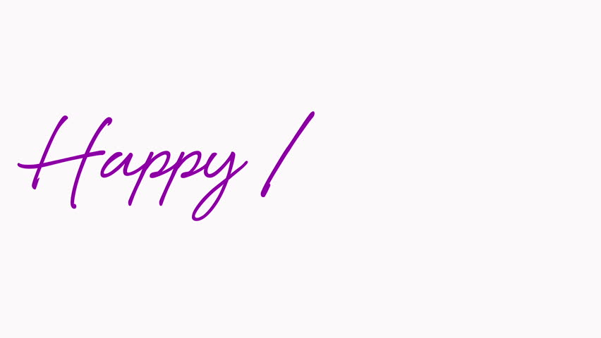 Happy Birthday written out in a script font in purple on a white background. Alpha included.