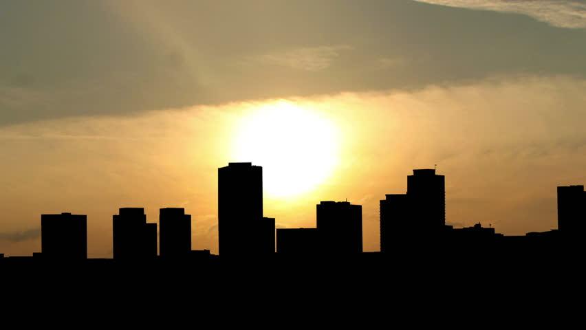 California Long Beach skyline sunrise. | Shutterstock HD Video #4064755