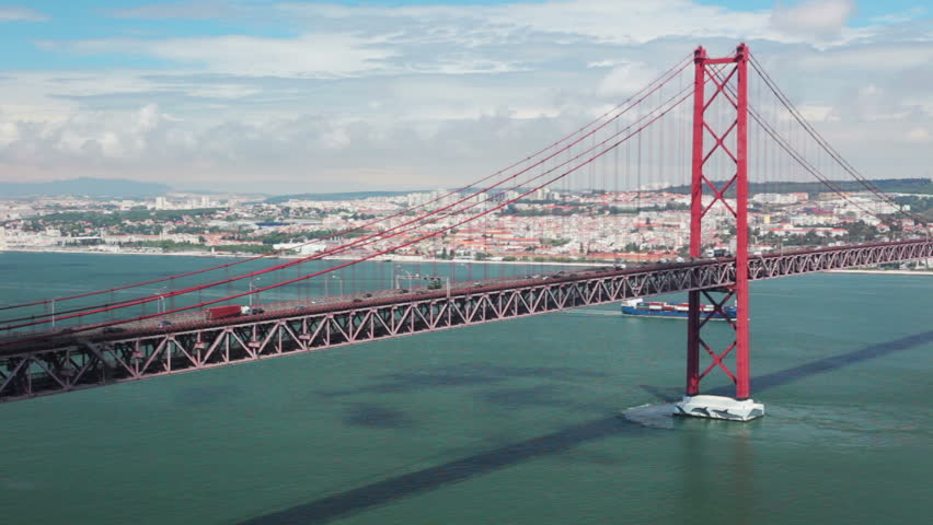 Portugal. Lisbon. 25th of April Bridge. Car traffic