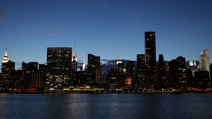 New York City Skyline, Midtown Manhattan Panorama, Skyscrapers, East River, Dusk