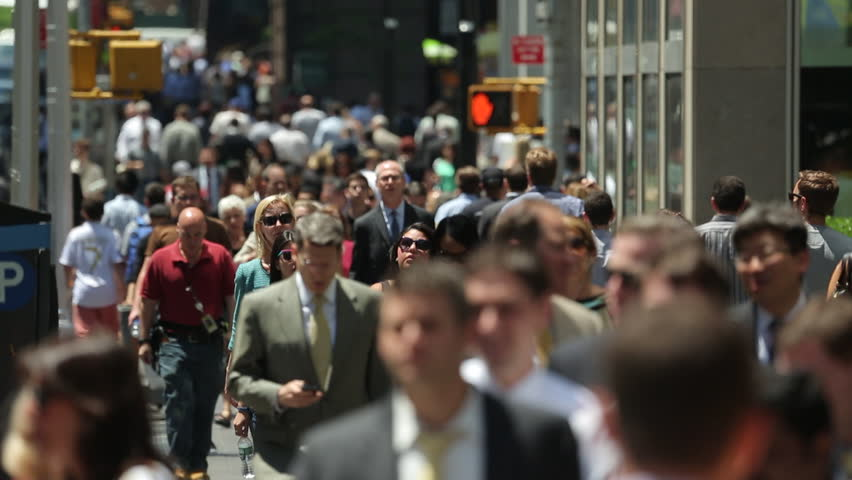 NEW YORK - CIRCA JUNE 2013: Crowd of business...