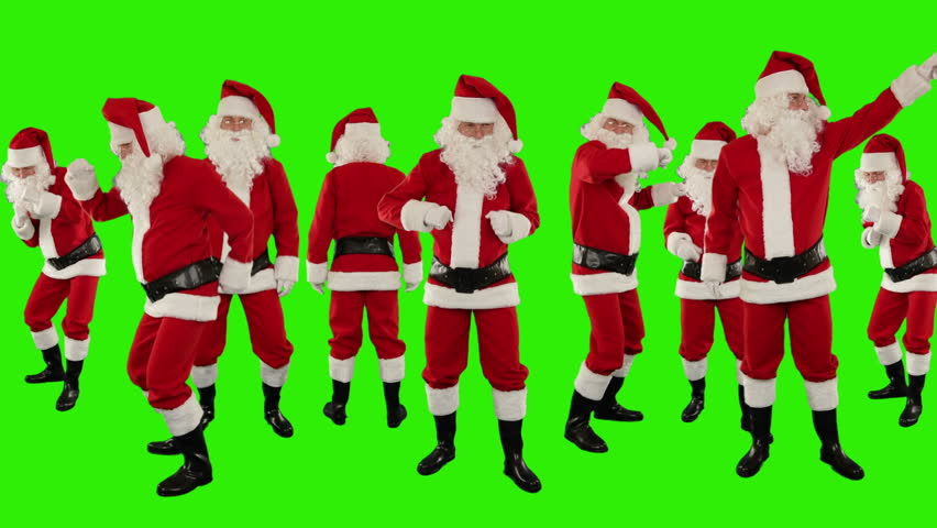 Bunch of Santa Claus Dancing, Christmas Holiday Background, Green Screen