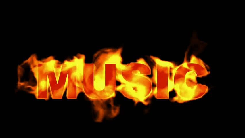 Burning Music Textfire Word Royalty Free Video