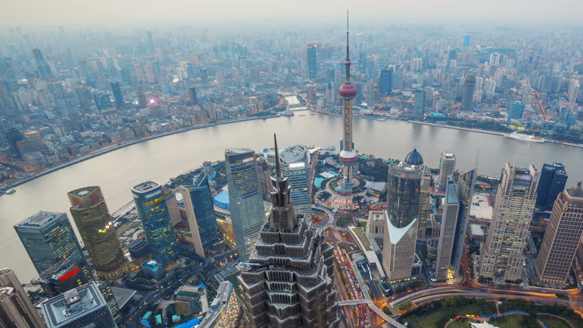 Shanghai From Day to Night, Time Lapse(Pan).  Aerial view of high-rise buildings with Huangpu River in Shanghai, China. - >>> Please Search Newest Featured Clip: 29542069.