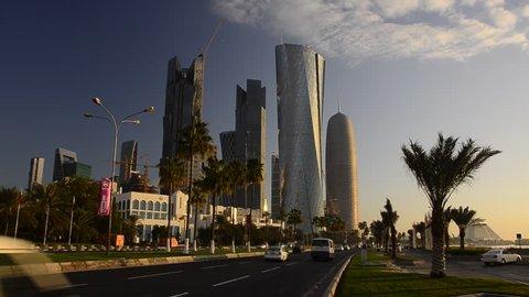 DOHA, QATAR - CIRCA 2011 - Newly built Skyline along The Corniche, Burj Qatar and Al Bidda Tower