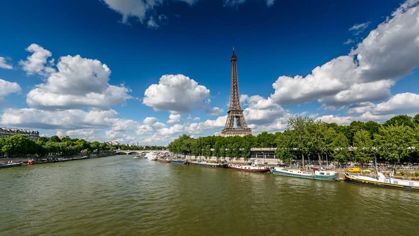 Eiffel Tower and Seine River, Timelapse Video, Paris, France | Shutterstock HD Video #4193455
