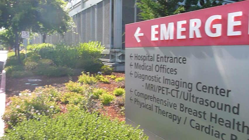 WASHINGTON HOSPITAL BUILDING - CIRCA 2013: Hospital entrance exterior with sign