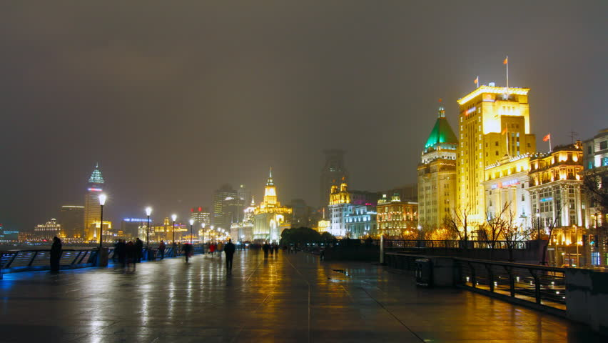 The Bund Shanghai at night. Shanghai, China. - zoom in