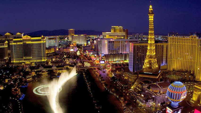 Illuminated view Paris hotel Eiffel Tower nr Bellagio fountains, Las Vegas Strip, USA | Shutterstock HD Video #4206490