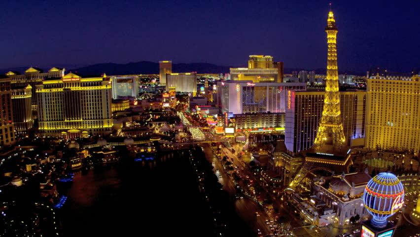 Illuminated Las Vegas Blvd view luxury hotels on Las Vegas Strip, USA | Shutterstock HD Video #4206556