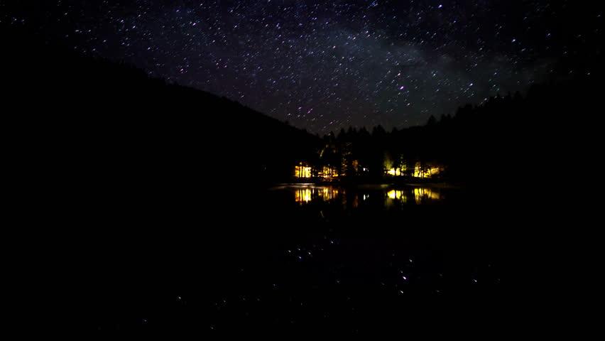 Stars movement time lapse at river, zeitraffer technic, 4k timelapse (4096 × 2304)