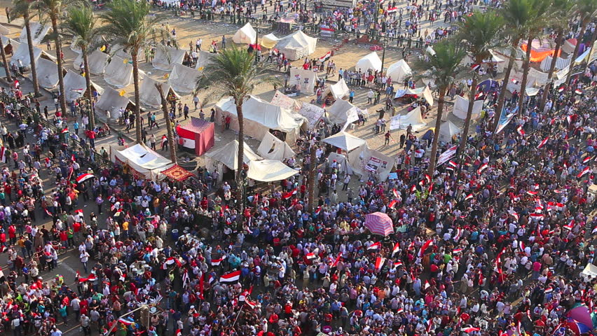 CAIRO, EGYPT - 2013: Overhead view of protestors in Cairo, Egypt.