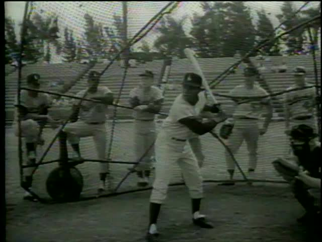 Dodgers players Jim Gilliam, Wally Moon, Johnny Roseboro Ron Fairly, Willie Davis, Tommy Davis practice, Vero beach, FL circa 1964-MGM PICTURES, UNIVERSAL-INTERNATIONAL NEWSREEL, USA, filmed in 1964