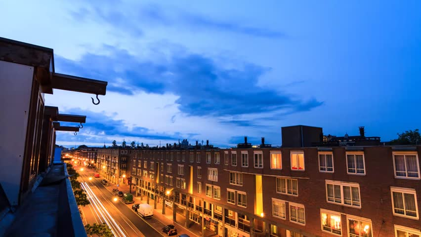 Beautiful full HD 30fps timelapse looking out over Amsterdam, the Netherlands. It spans over 12 hours and contains moving shadows, a sunset, moonrise and sunrise over the city.