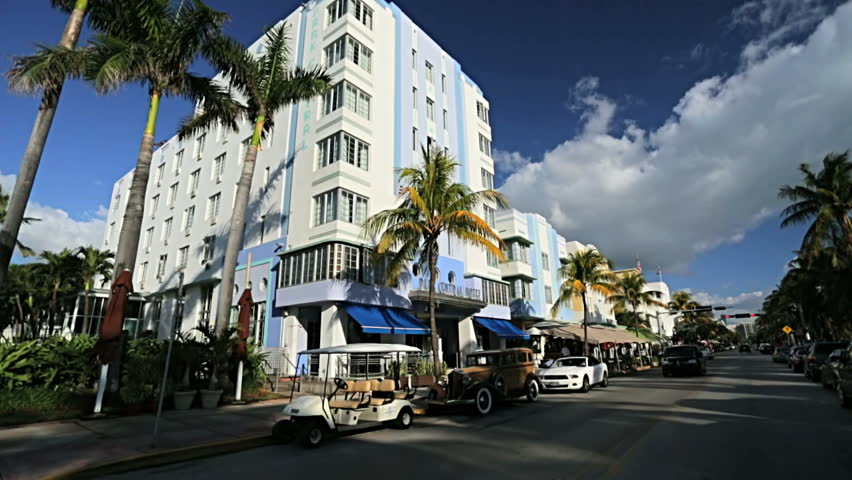 P.O.V. driving Ocean Drive Art Deco restaurant hotels and condominiums South Beach, Florida, USA #4231471
