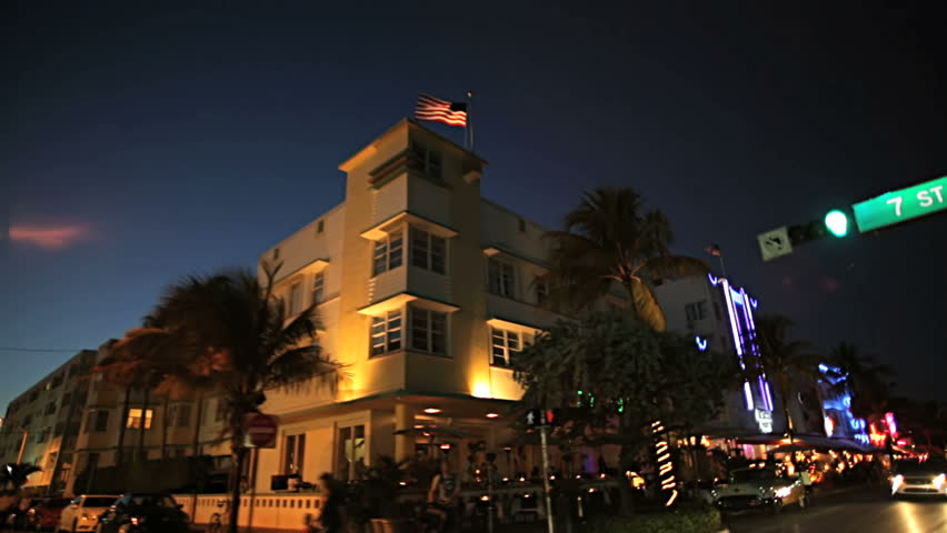 Night P.O.V. driving colourful Art Deco hotels and condominiums on Ocean Drive South Beach Miami, Florida, USA #4231981