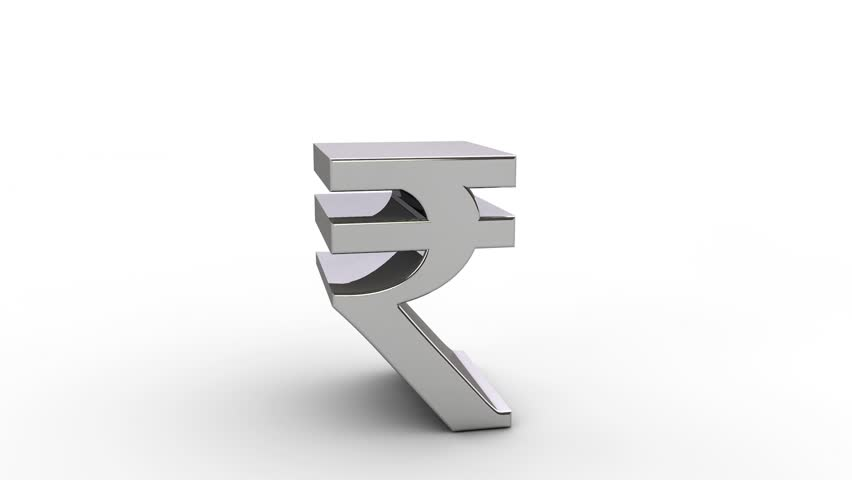 3d Rupee Currency Symbol Exploding Over White Royalty Free Video