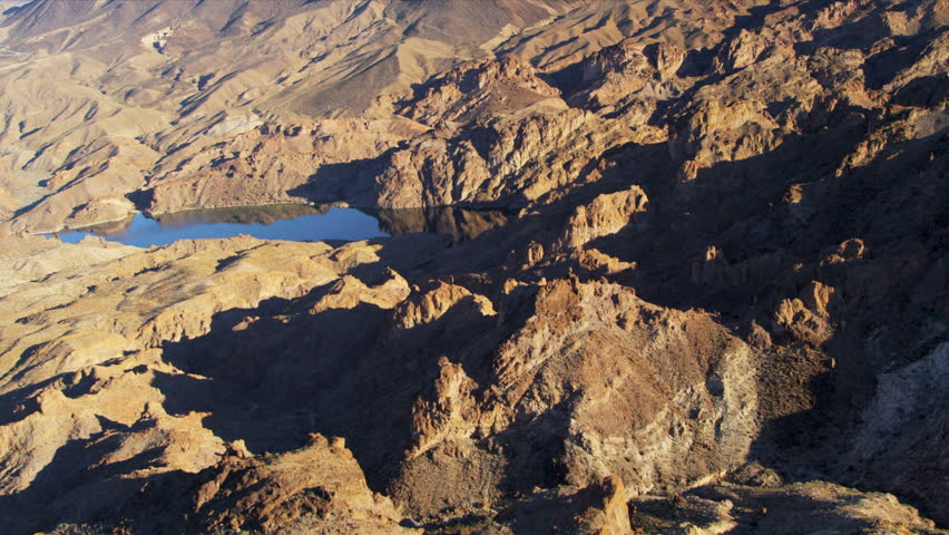 Aerial view Red Rock Canyon Colorado River inflow from Grand Canyon to Lake Mead Southeast Las Vegas, Arizona Nevada, USA   Shutterstock HD Video #4241855